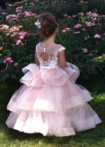 Mauve Lace Tulle  Cupcake Girls Party Dress Holiday Dress