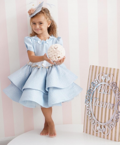 Light Blue  Girls Party Dress Holiday Dress Christmas Dress