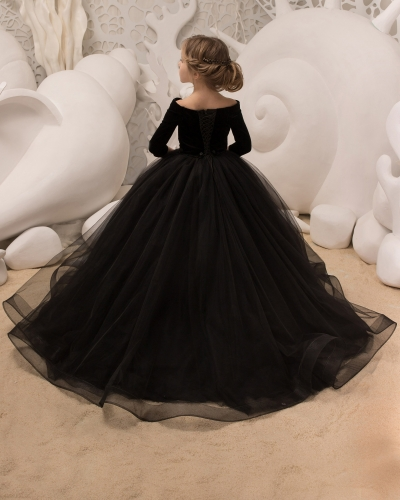 Black Tulle Flower Girl Dress Girls Party Dress