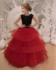 BurgundyLace Tulle Flower Girl Dress Girls Party Dress