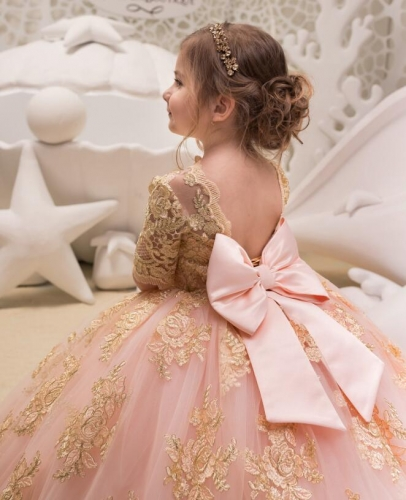 Champagne Lace Tulle Flower Girl Dress Girls Party Dress