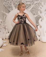Black Lace Tulle Flower Girl Dress Girls Party Dress