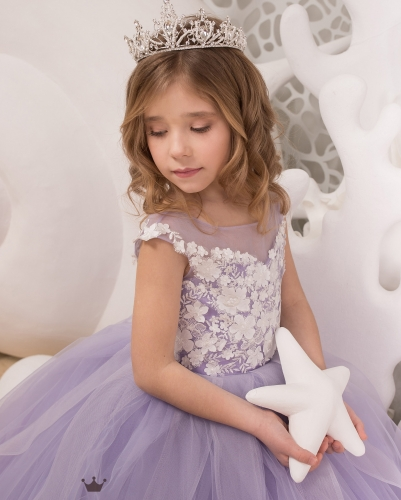 Lavender Lace Tulle Flower Girl Dress Girls Party Dress