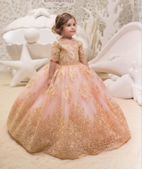Free Shipping Champagne Lace Tulle Flower Girl Dress Girls Party Dress
