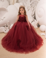 Burgundy Lace Tulle Flower Girl Dress Girls Party Dress