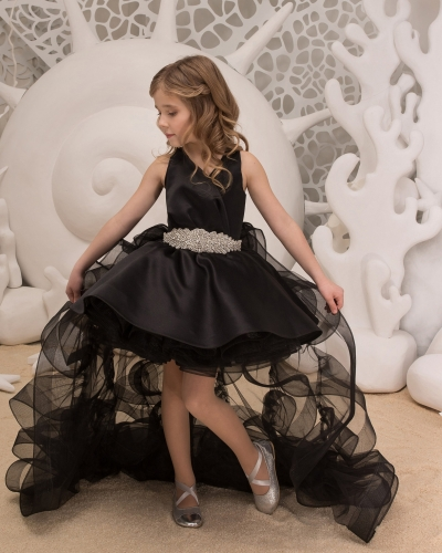 Black Satin Organza Tulle Flower Girl Dress Girls Party Dress