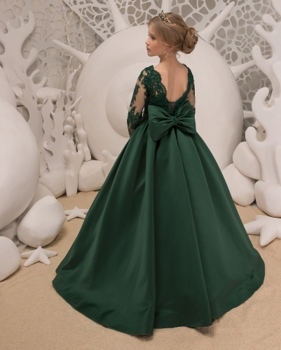 Dark Green Lace Satin Flower Girl Dress Girls Party Dress