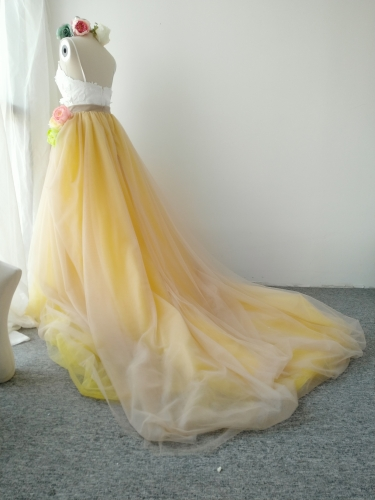 Light Champagne Yellow  Long Train Skirt Tulle Skirt 2 pieces Corset