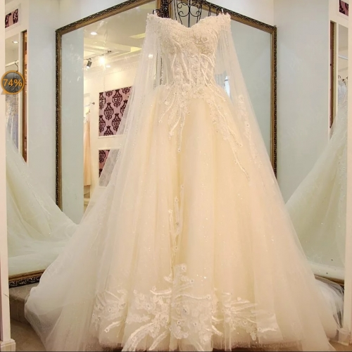 Light Champagne/ Ivory/ White  Wedding Gown Bridal Gown