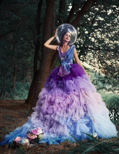 Colorful Tulle Long Train Bridal Skirt 2 Pieces Wedding Dress