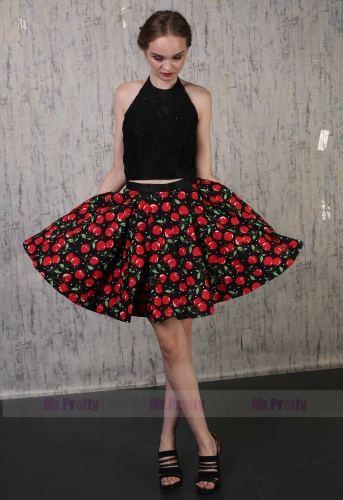 Black Lace Tulle Prom Dress 2 Pieces Special Occasion Dress
