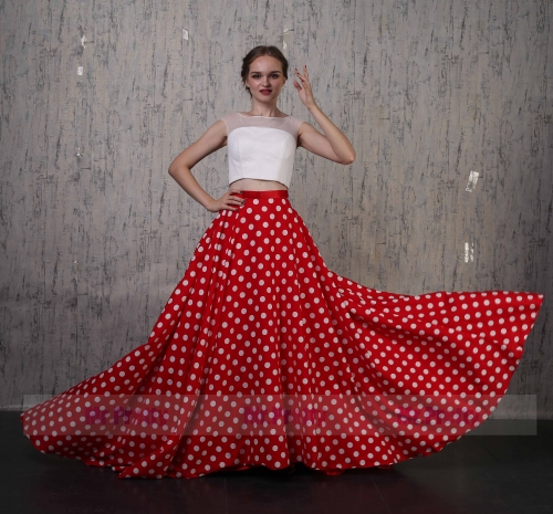Red Cotton Full Length Prom Dress 2 Pieces