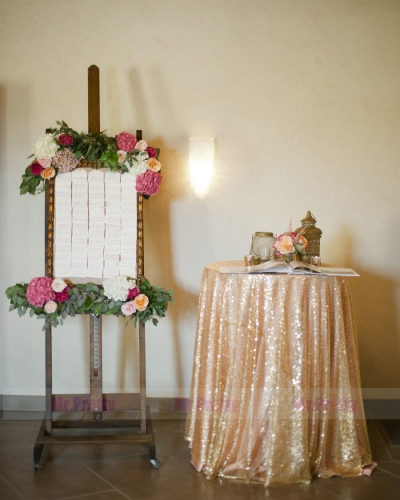 Light Gold Sequin Wedding Table Cover Tablecloth
