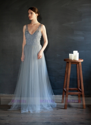 Grey Blue Tulle Beaded Prom Dress