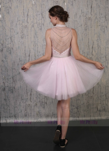Pink Lace Tulle Prom Dress 2 Pieces Special Occasion Dress
