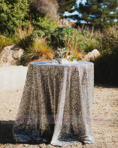 Silver Sequin Wedding Table Cover Tablecloth