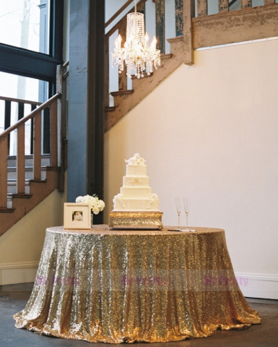 Gold Sequin Wedding Table Cover Tablecloth