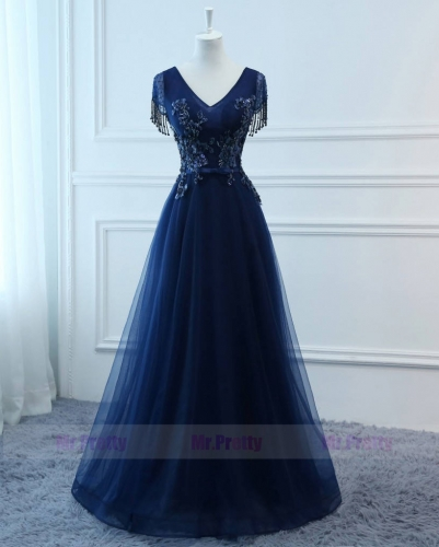 Navy Blue Prom Dress Evening Party Dresses Mother Dress