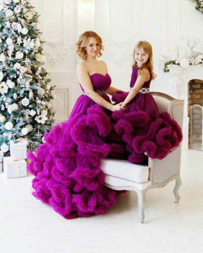 Purple Color Long Train Mother and Kids Parenting Dress