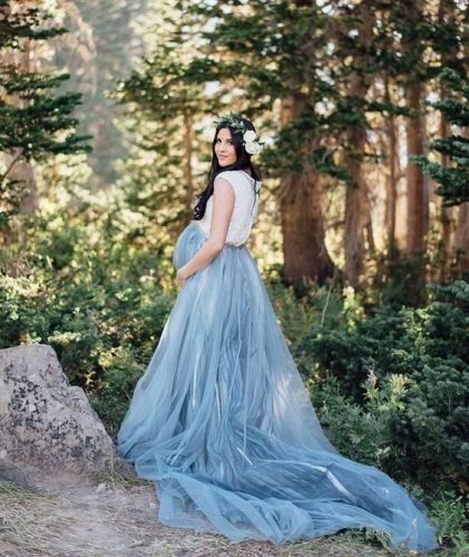 Grey Blue Color Long Train Maternity Dress