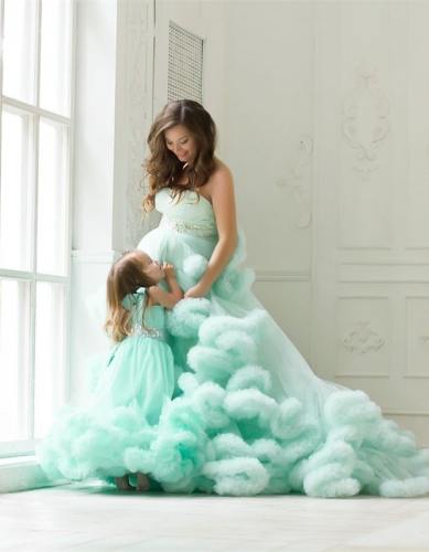 Mint Color Long Train Mother and Kids Parenting Dress