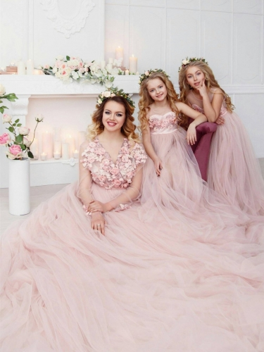 Blush Color Long Train Mother and Kids Parenting Dress 2 Pieces