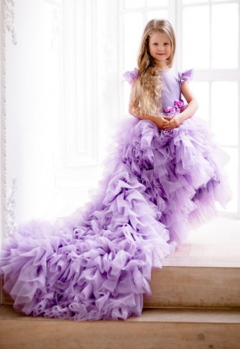 Purple Tulle Tutu Flower Girl Dress Girls Party Dress
