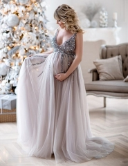 Light Grey Beaded Lace Maternity Party Dresses Prom Dress