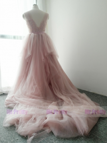 Mauve Long Train Bridal Skirt 2 Pieces Wedding Dress