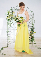 Yellow  Short Train Satin Bridal Skirt 2 Pieces Suit