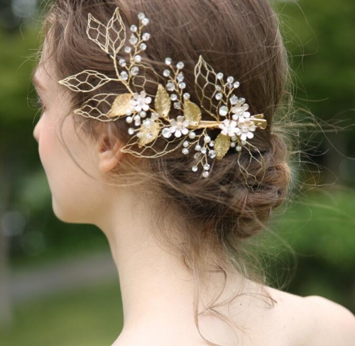 Champagne Gold Beads Bridal Hairband Bridal Headband