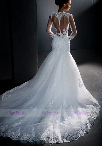 Ivory Lace Mermaid Wedding Gown