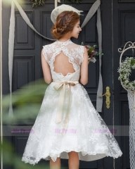 Ivory Lace Short Wedding Gown
