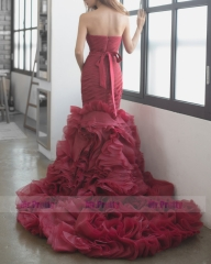 Burgundy Organza Long Train Bridal Dress Wedding Gown