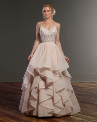 Champagne Organza 2 Pieces Bridal Gown Wedding Dress