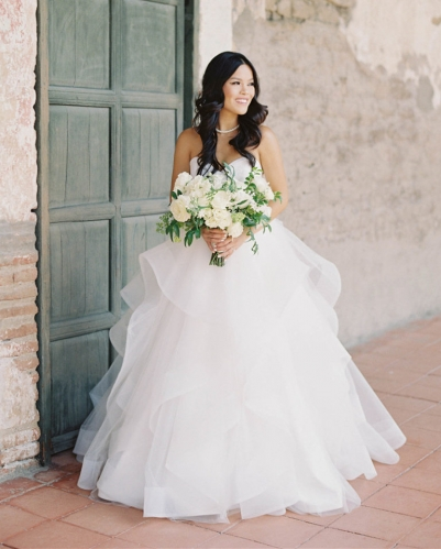 Ivory Short Train Bridal Ball Gown