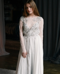 Ivory Lace Chiffon Bridal Gown Wedding Dress