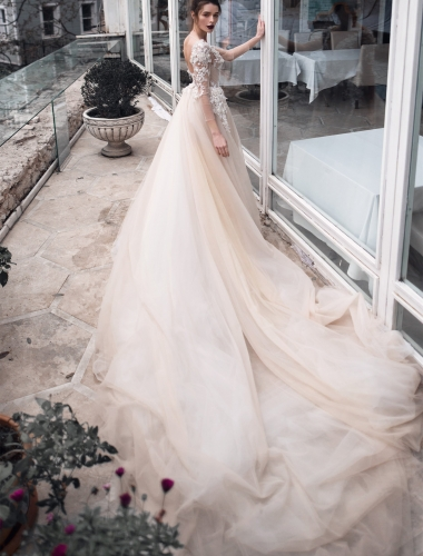 Ivory Lace Long Train Champagne Bridal Gown