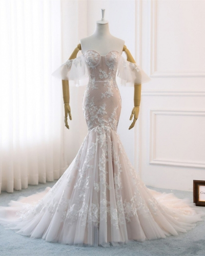 Mermaid Champagne Lace Tulle Long Train  Bridal Gown