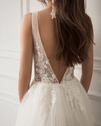 Ivory Lace Short Train Bridal Gown
