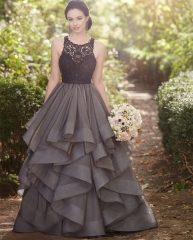Dark Grey Black 2 Pieces Bridal Gown Wedding Dress