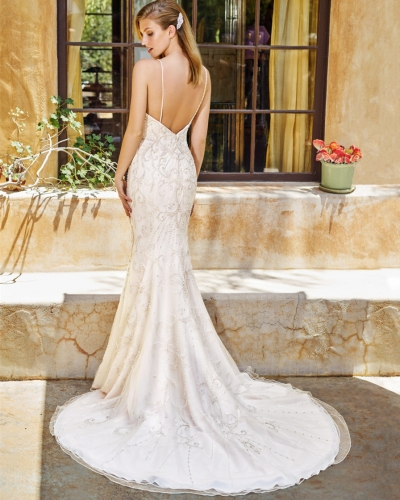 Beads Mermaid Short Train Bridal Dress