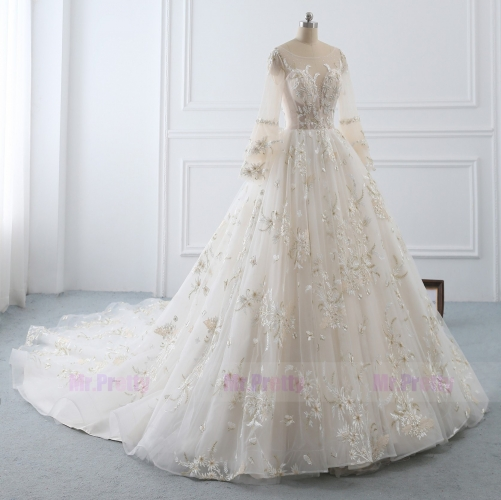 Ivory Lace Long Sleeve Long Train  Wedding Gown