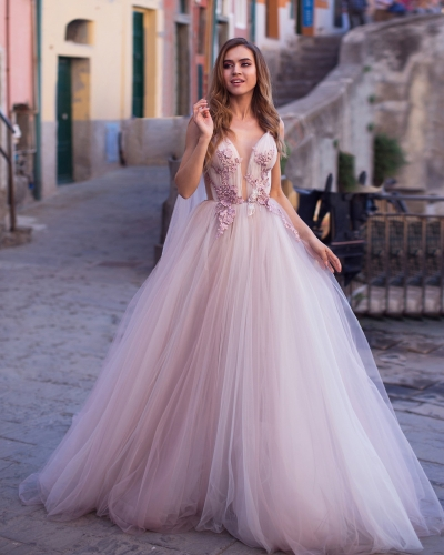 Mauve Ivory Tulle Long Train Bridal Gown