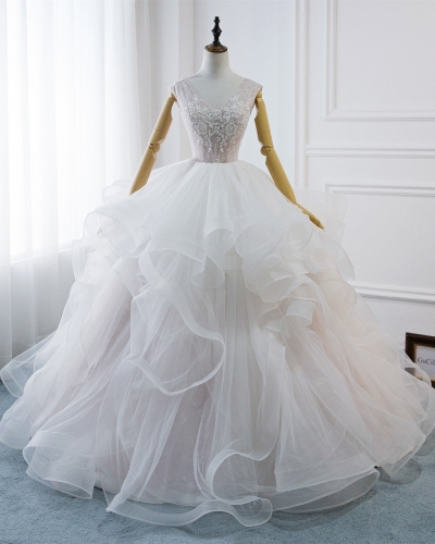 Ivory Lace Tulle Long Train  Wedding Gown