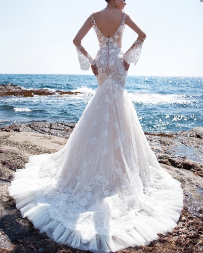 Light Champagne Mermaid Long Train Bridal Dress