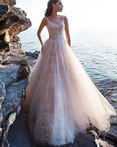 Light Champagne Tulle Long Train Bridal Gown