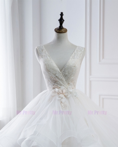 Ivory Lace Beaded Long Train  Wedding Gown