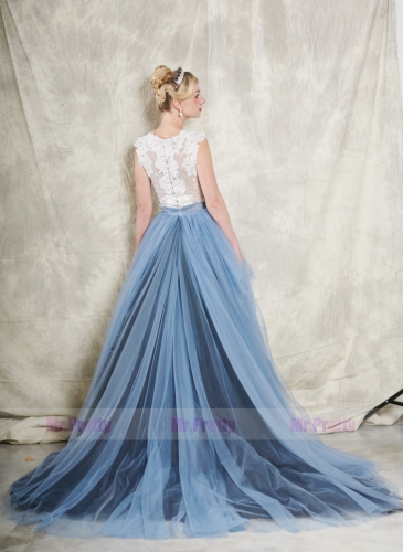 3 colors Long Train Bridal Skirt 2 Pieces Wedding Gown