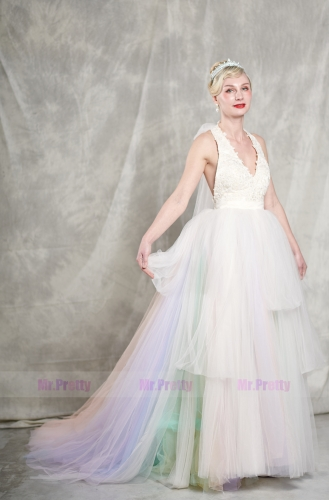 7 Colors Long Train Bridal Skirt 2 Pieces Wedding Gown